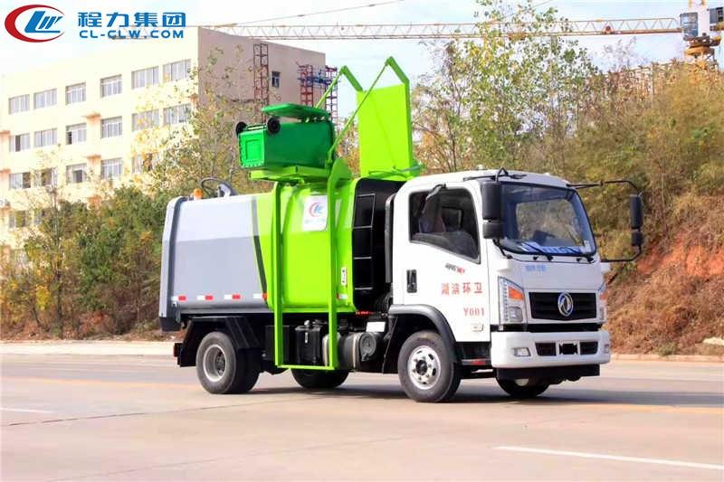 东风御虎侧装挂桶压缩式垃圾车(6方)